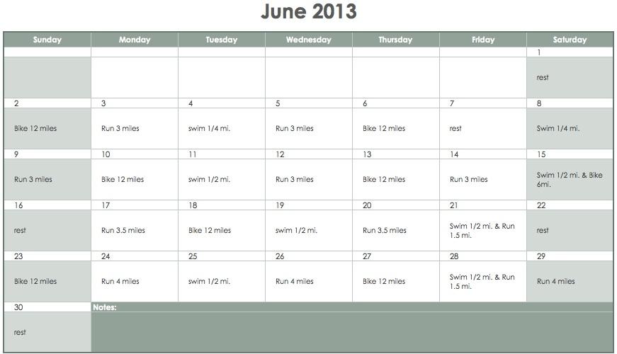 triathlon training calendar template - 8 week sprint triathlon schedule