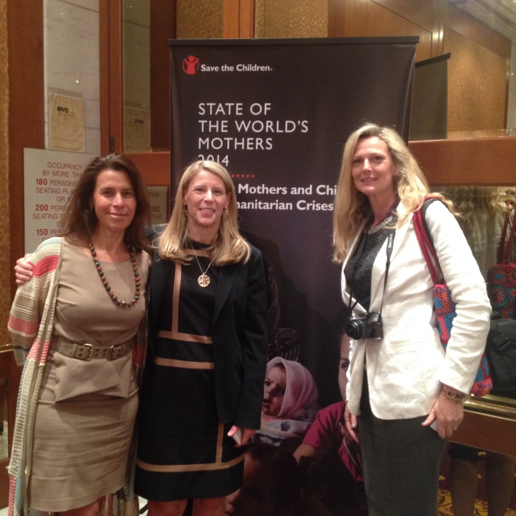 Global Team of 200 Member Harriet Shugarman Exec. Dir. of ClimateMama, and Carolyn Miles, President and CEO of Save The Children pictured here with the author at the State of the World's Mothers Report launch in NYC .